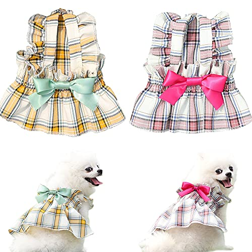 Sebaoyu Female Dog Clothes - Doggie Dresses for Small Medium Dogs Girl - Yorkie Clothes Outfits - Pink Dog Dress - Xs Dress for Dog - Pink Puppy Dresses Tutu Set of 2 (M)