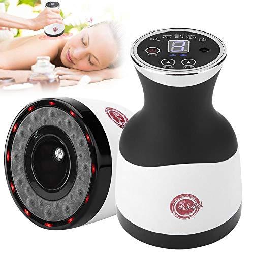3 in 1 elektrisches Guasha Massagegerät + Schröpfen + heiße Kompression,Scraping Massage Durchblutung Körper Entgiftung Unterdruck Stein Gesundheitswesen(With LED Light)