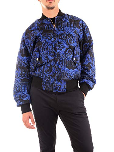 Versace Jeans Couture Herren Bomber Bomberjacke, Schwarz (899+208 Lz6), Large (Herstellergröße: 52.0)