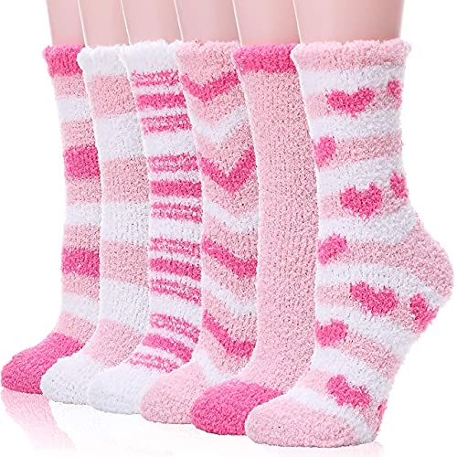Womens Fuzzy Socks Slipper Soft Cabin Plush Warm Fluffy Winter Christmas Sleep Stocking Stuffers Cozy Adult Socks(Mix Pink(6 Pairs))