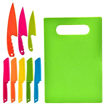 9PCS Plastic Knife Cutting Board kids Cooking Supplies Safe Lettuce and Salad Knives Real Kids Cooking Tool in 3 Sizes Serrated Edges, Cute Assorted Colors