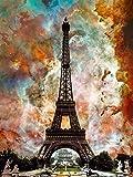 5D Diy pintura de diamante redondo completo Torre de París bordado de punto de cruz mosaico de diamantes imagen de paisaje de diamantes de imitación A4 50x70cm