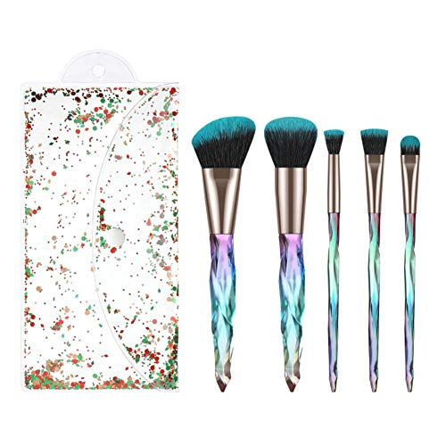 PetKids – Juego de 5 pinceles de maquillaje profesionales para rostro, ojos, labios, polvo, base, contorno corrector, 5 pinceles + bolsa de cosméticos con diseño