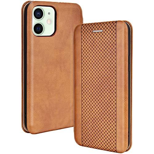 Leaum Handyhülle für iPhone 12 Mini Hülle Leder Flip Hülle Tasche Schutzhülle, Braun