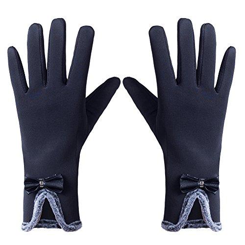 GLOUE Winterhandschuhe Warme Handshuhe Seide Handschuhe Damen Touchscreen Handschuhe Radfahren Motorradfahren Innen Outdoor