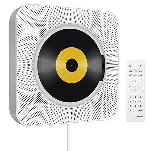 Tragbarer Wandmontage Bluetooth CD Player: USB Musik CD Players mit IR-Fernbedienung Eingebaute HiFi-Lautsprecher FM-Radio Disc Player mit Loop-Wiedergabe & Audio AUX-EIN/Ausgang für Hause Weiss