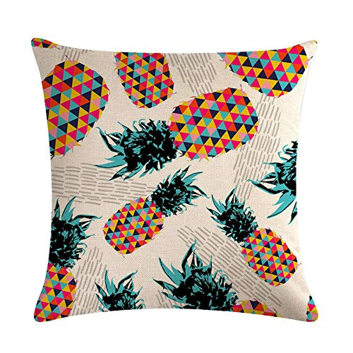 ouyalis Cushion Covers Cartoon pineapple sofa decoration cotton linen cushion cover hug pillowcase 45 * 45 home decoration hug pillowcase-D14