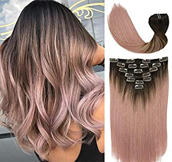 VARIO 120g Ombre Clip in Hair Extensions Dark Brown Fading to Pink Mauve Real Remy Human Hair Extensions Clip in Natural Hair Extensions 7 Pieces 14 inch Stragiht