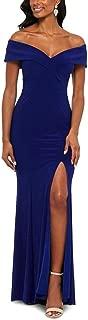 Women's Dress Gown Off-Shoulder High-Slit Crepe