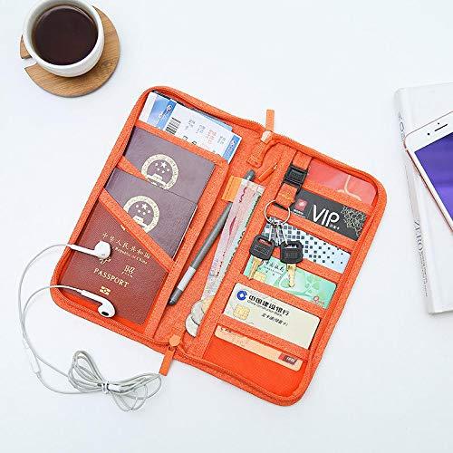 feilai Reisezubehör, Ausweis, Kreditkartenetui, Geldschein-Organizer, Aufbewahrungstasche (Farbe: Orange)