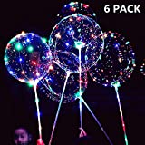 6 Packs LED Light Up BoBo Balloons with Stick,3 Levels Flashing LED String Lights,20 Inches Bubble Balloons, Air Pump, for Christmas Birthday Party Decoration