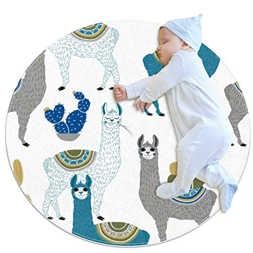 Best Review Of Llama Or Alpaca and Cactus Baby Play Blanket, Baby Round Children Play pad Thickened ...