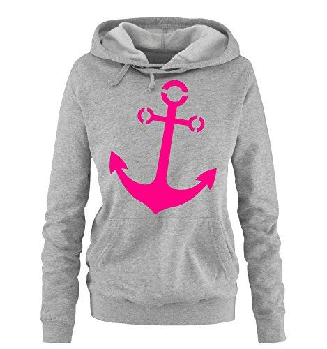 Comedy Shirts - Anker - Damen Hoodie - Grau/Pink Gr. L