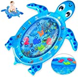 Tummy Time Water Mat, Inflatable Play Mat Toys for 3 6 9 Months, Turtle Shape Newborn Baby Mat, Fun Play Activity Center Your Baby's Stimulation Growth