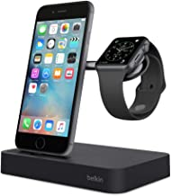 Belkin Valet Charge Dock for Apple Watch + iPhone, iPhone Charging Dock for iPhone Xs, XS Max, XR, X, 8/8 Plus and More, Apple Watch Series 4, 3, 2, 1, Silver (Renewed) (Black)
