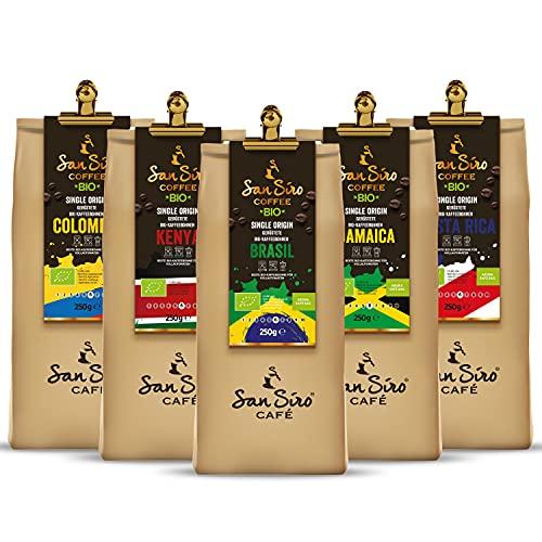 SanSiro BIO Single Origin Kaffeebohnen | Um die Welt Barista Probierset First Trip | 5 x 250g Länderkaffee | Nachhaltig und Umweltfreundlich