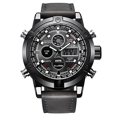 Challeng Herrenuhr LED Sportuhr Leder Quarz Analog Digital Business Armbanduhren Geschenk