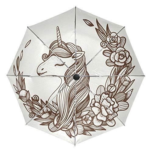 MALPLENA - Paraguas automático Abierto con Gafas y Unicornio para Hombre y Mujer, opción de Regalo, Unisex Adulto, MN-331, 9, Talla única