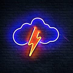 ★【Real Neon Signs】Lightning and cloud neon sign is is real acrylic neon light, not led plastic. The neon signs are handmade. The most advanced electrode system, low energy consumption and long life. Koicaxy neon signs are with 5V low-voltage design, ...