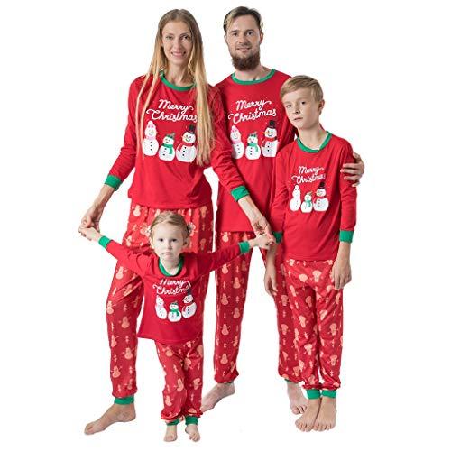 FELZ Navidad Conjunto de Pijamas de la Familia 2 Piezas, Muñeco de Nieve de Navidad Mangas largas Tops Sueltos + Pantalones Navidad Ropa de Pijamas para Familiar Roap de Casa para Niños Papá Mamá