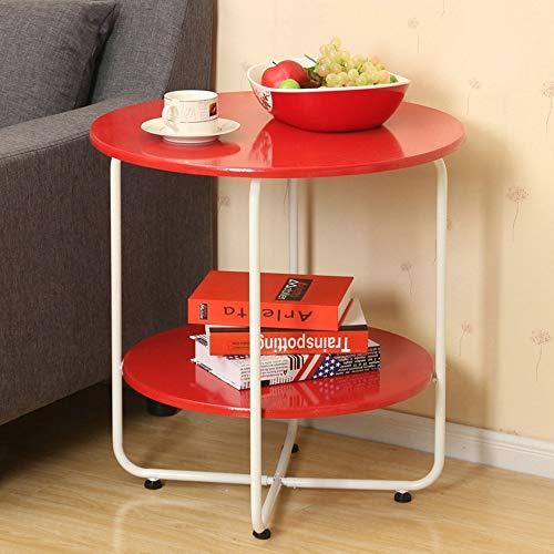 FEI Table d'appoint à 2 niveaux, table d'appoint Table basse ronde Table d'appoint ronde avec pieds en acier 3 couleurs (Couleur : Red, taille : 45.5 * 45cm)