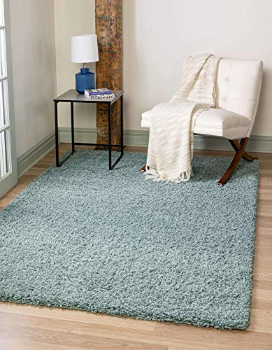Unique Loom Solo Solid Shag Collection Modern Plush Light Slate Blue Area Rug (3