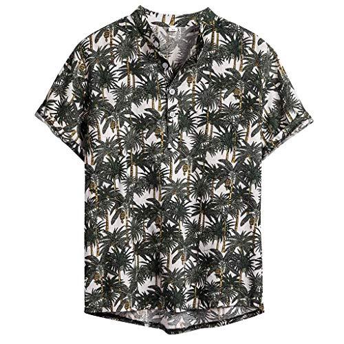 Hawaii Hemd Herren Sommer Freizeithemd Kurzarm 3D Gedruckt Strandhemd Freizeit Hemd Button Down Aloha Hawaiihemd für Männer