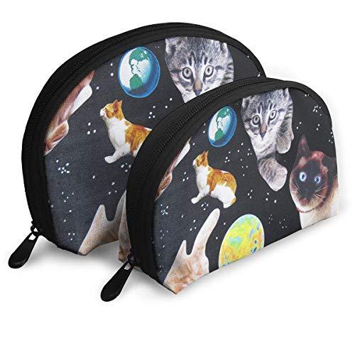 XCNGG Bolsa de almacenamiento Cute Cats in Space Bolso de maquillaje de viaje portátil Impermeable Organizador de artículos de tocador Bolsas de almacenamiento