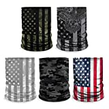 Controller Gear [5 Pack] Neck Gaiter - Face Mask - Made in USA. Green Camo/Eagle/Snow Flag/Black Camo/US Flag - Not Machine Specific