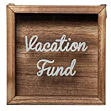 Genie Crafts Wooden Shadow Box Bank, Vacation Fund (7.1 x 1.8 Inches)