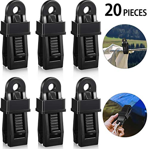 Tarp Clip Crocodile Mouth Multipurpose Secures Clamp with Strong Lock Grip Clamp Trap Clip Camping Clamp Clip Tighten Lock Grip Tent Snap for Outdoor Camping Tent Awning Banner and Cover (20 Pieces)