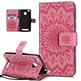 Xiaomi Redmi 3S Case,Xiaomi Redmi 3S Cover,ikasus Embossing Mandala Flowers Sunflower PU Leather Magnetic Flip Folio Kickstand Wallet Case with Card Slot Protective Case Cover for Xiaomi Redmi 3S,Pink