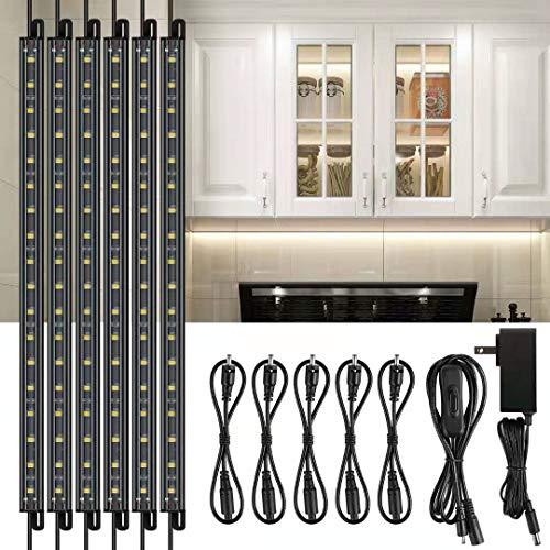 Wahmar LED Safe Lighting Kit, 6PCS 12' Linkable Light Bars + Rocker Switch + UL Power Adapter, Under Cabinet Lighting, for Counter, Gun Safe, Locker, Closet, Shelf, Showcase, Cool White (5000K)