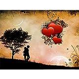 5D DIY Diamante Pintura Amor Corazón Puesta de Sol Kit Set Taladro Cuadrado Completo Bordado de Diamantes Mosaico Punto de Cruz Decoración del hogar (cuadrado30x40cm)