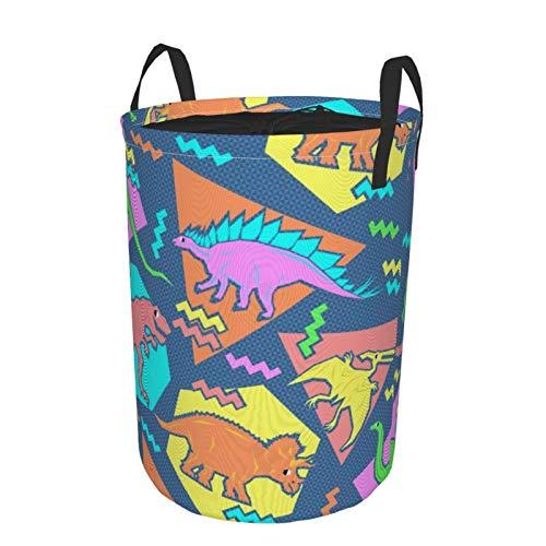 Cesta grande para la colada resistente, bolsa de ropa con patrón de dinosaurios de los años noventa plegable de tela con cierre de cordón impermeable redonda