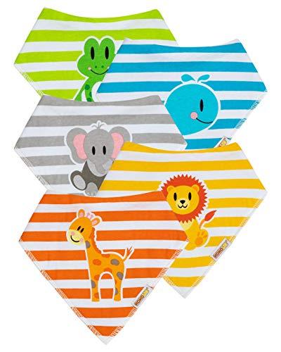 KOKOLIO® Bibzoo Baby Lätzchen ab 4 Monaten (5er Spucktuch Set Für Babys), Größenverstellbares Dreieckstuch, Weiches & Wasserdichtes Halstuch Für Babys (Baumwolle & Fleece), Baby Bandana, Unisex