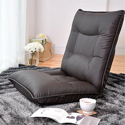 Chaise de dossier pliable Chambre à coucher Salon Tissu Canapé paresseux -LI JING SHOP (Couleur : Brown)