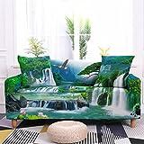 Funda para Sofá Sofas de Salon Cascada del Bosque Verde Fundas de Sofa Elasticas Fundas para Sofá Ajustables Estampada Cubre Sofa con 1 Funda de Cojín