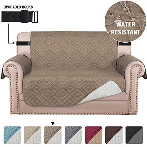 """Quilted Loveseat Slipcover Covers for 2 Cushion Couch Water Repellent Loveseat Couch Cover for Pets Dogs Furniture Protector with Non-Slip Strap (Seat Width 54"""", Reversible Taupe/Beige)"""