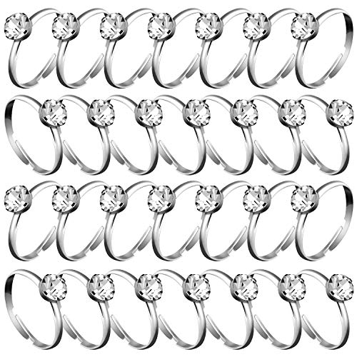Whaline Silver Diamond Engagement Rings for Wedding Table Decorations, Party Supply, Favor Accents, Cupcake Toppers (72 Packs)