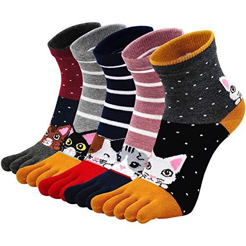 Calcetines de Dedos Mujer Calcetines Cinco Dedos de Algodón, Mujer Calcetines del Dedo del Pie, Calcetines Divertidos Mujer Calcetines Animales Perros, 36-41