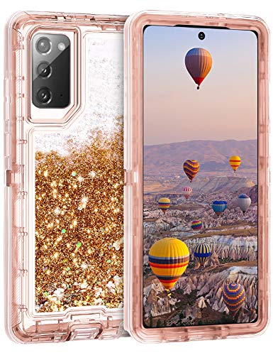 Coolden Case for Galaxy Note 20 5G Cases Protective Glitter Cover for Women Girls Cute Bling Sparkle Heavy Duty Hard Shell Shockproof TPU Case for 6.7 Inch Galaxy Note 20 5G, Rose Gold