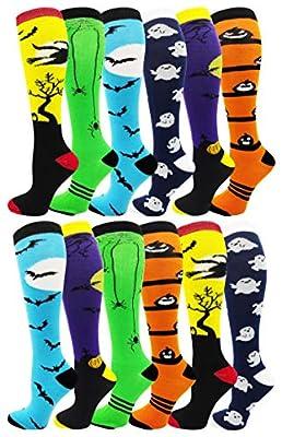 Halloween Socks for Women Girls, 12 Pairs Bats Pumpkins Ghosts Print, Colorful Pattern Novelty Cute Gift (Assorted Knee High Socks A)