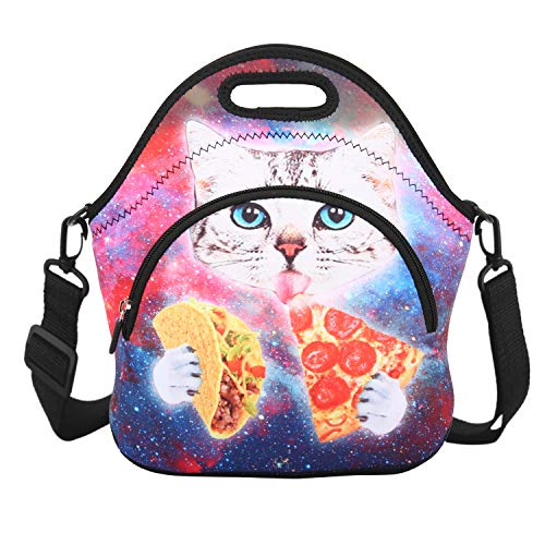 Violet Mist Neoprene Lunch Bag Tote with Pocket Shoulder Strap Insulated Thermal Lunch Box Tote Waterproof Pinic Work for Women Gilrs Men Adults Teens(Cat Pizza 2)