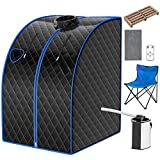 COSTWAY Portable Steam Sauna, 3L Personal Sauna Tent with Remote Control, 9-Level Temperature and Timer, Atomization Function, Foldable Spa Sauna for Weight Loss, Detox Relaxation at Home (Black)