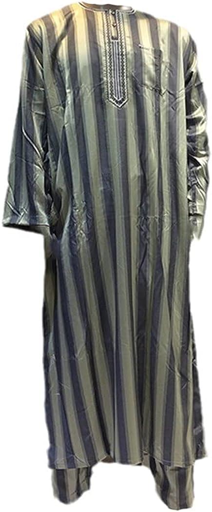 KEHAIEN 100% Cotton Muslim Jubba Thobe, Men Djellaba Saudi Arabia Abaya Caftan, Islam Kaftan Long Robe with Trousers