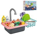 Lavavajillas Infantil Fregadero Electrónico de Cocina Conjunto de Juguete para Lavar Platos Accesorio de Cocinita Infantil Juegos de Imitación para Niños y Niñas, Pink