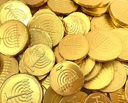 Hanukkah Chanukah Gelt Milk Chocolate Gold Coins Candy, Bulk 1 Lb (90 ct)