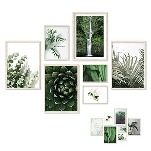 Gloria Therese - Beidseitiges Premium Bilder Set - OHNE Rahmen - 7 Poster - Home Deko für Schlafzimmer und Wohnzimmer - Natur, Grün, Eukalyptus, Palmen - Wandbilder (4xA4 / 1xA5 / 2xA6)