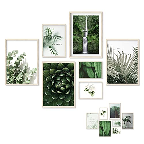 Gloria Therese - Beidseitiges Premium Bilder Set - OHNE Rahmen - 7 Poster - Home Deko für Schlafzimmer und Wohnzimmer - Natur, Grün, Eukalyptus, Palmen - Wandbilder (4xA4 /...